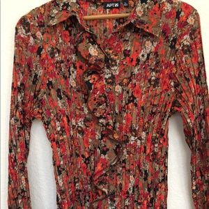 APT 9 floral patterned long sleeve pleated blouse